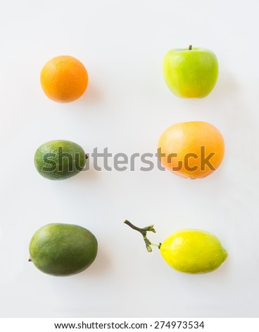 diet, eco food, healthy eating and objects concept - ripe fruits and vegetables over white - stock photo