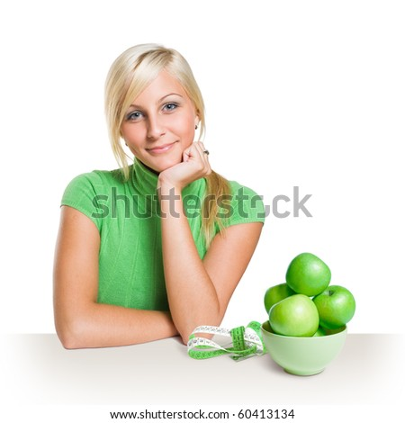 Diet - fitness concept with gorgeous young blond girl. - stock photo