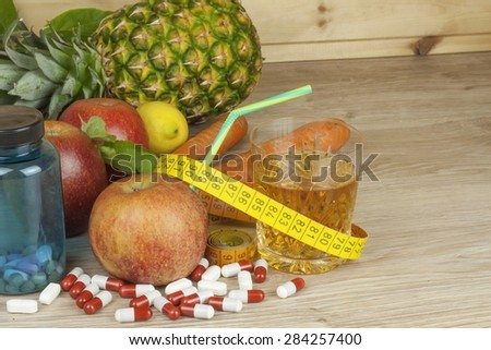 diet food, apple juice, vegetables and fruits, concept diet, vitamin supplements, supplements - stock photo