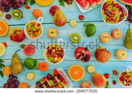 Diet, healthy fruit salad - healthy breakfast, weight loss concept - stock photo