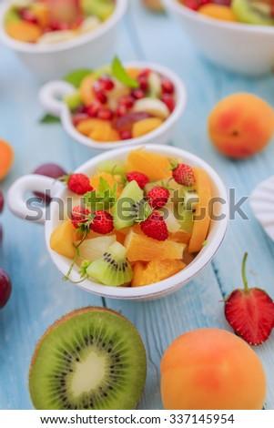 Diet, healthy fruit salad - healthy breakfast, weight loss concept - stock photo