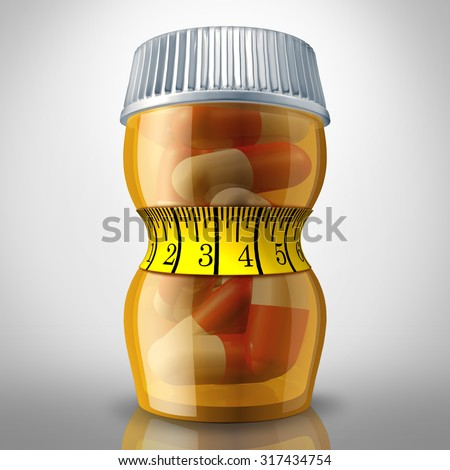 Diet pills and appetite suppressing medication as a prescription drug bottle squeezed by a tight fitness tape measure as a slimming metaphor for losing weight medicine. - stock photo