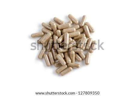 diet pills on white background - stock photo
