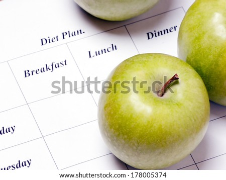 diet plan.  green apples are on the diet plan, shallow depth of field.  focus on the apple. - stock photo