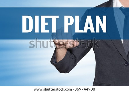Diet Plan word Business man touching on blue virtual screen - stock photo
