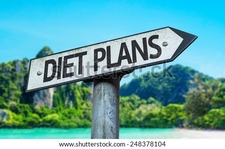 Diet Plans sign with a beach on background
