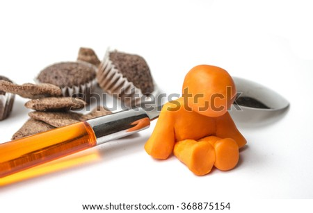 Diet program / overweight clay 3d small people / Obesity and a depressed sad Plasticine man on the white background stock - stock photo