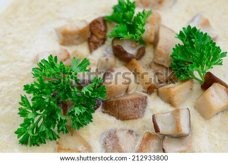 diet soup with mushrooms. tasty food - stock photo
