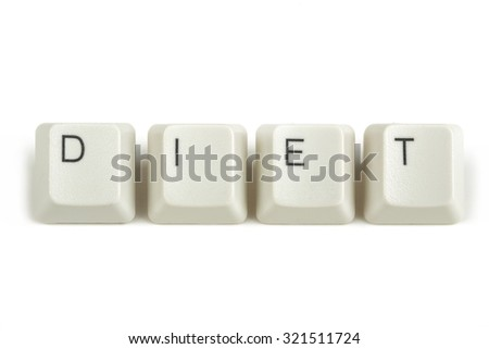 diet text from scattered keyboard keys isolated on white background