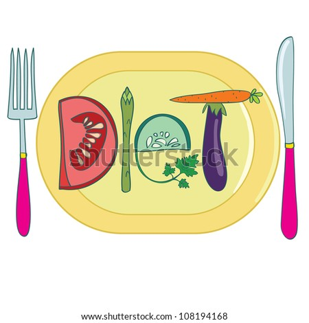 Diet. Title made of vegetables, on plate. Creative vector illustration. - stock photo