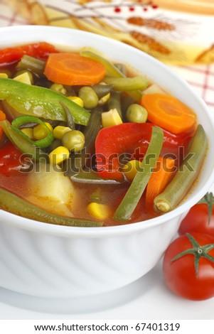 Diet vegetable soup - stock photo
