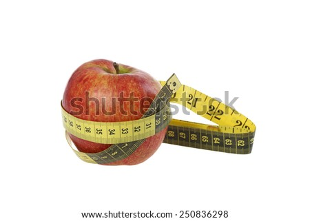 Diet, weight loss and health care concept - Apple belted with tape measure isolated on white background - stock photo