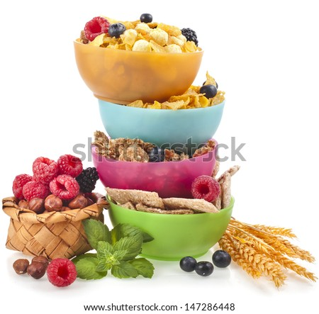Diet weight loss breakfast concept, tower stack isolated on a white background  - stock photo