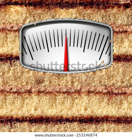Diet weight scale concept and counting calories symbol as a cake with a kilogram or pound measurement equipment as a metaphor for eating temptation. - stock photo