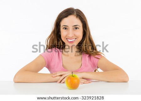 Diet woman with an apple