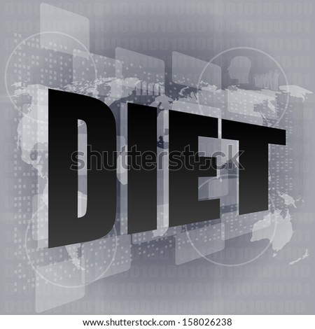 diet word on digital touch screen, raster