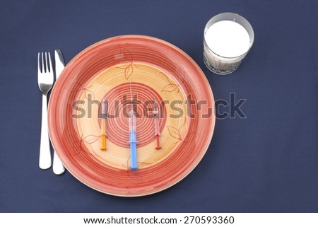 dietary breakfast, meal athletes, anabolic doping, dangerous sport - stock photo