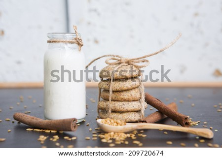 Dietary cookies with bran, cottage cheese, flax seeds, chia seeds for diet Ducan. Low calorie healthy sweets desserts. - stock photo