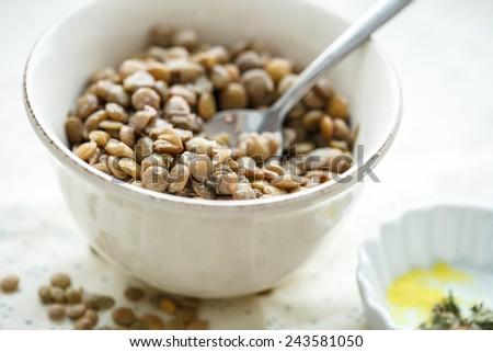 Dietary dish of lentils - stock photo