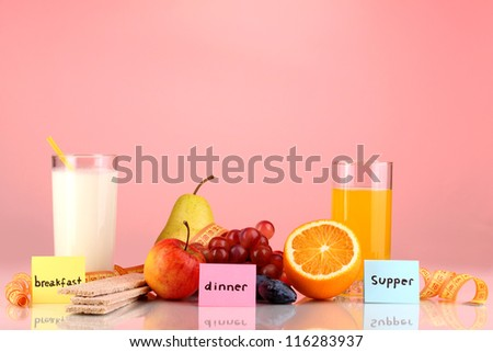 Dietary foods for breakfast, dinner and supper on red background