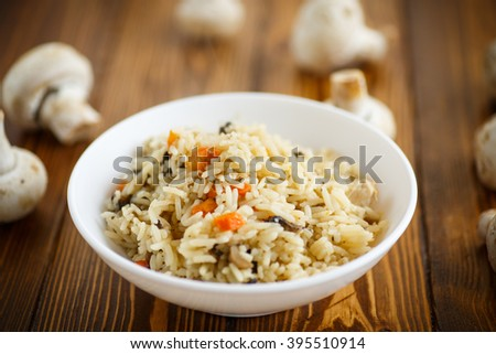 dietary pilaf with mushrooms  - stock photo