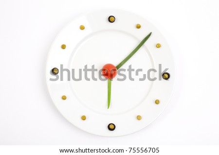 Dietary plate with a green peas and an onions. Concept of healthy, correct, dietary or vegetarian food. - stock photo
