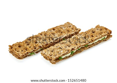 Dietary snack sandwich bars on white background - stock photo