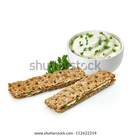 Dietary snacks with cream cheese on white background - stock photo