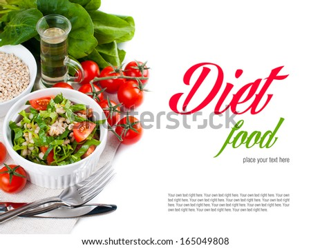 Dietary vegetable salad with spinach, cherry tomatoes, barley porridge and olive oil on a white background, isolated, healthy eating, vegan cuisine, food background