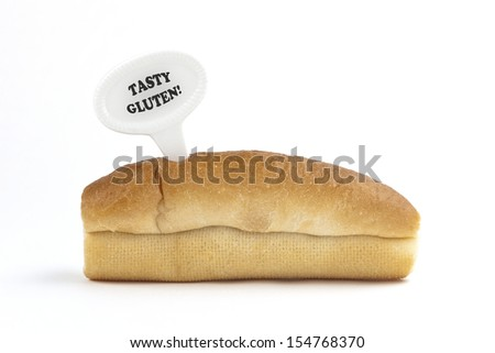 Dietary warning or gluten/wheat allergy warning (Fresh bread rolls with Tasty Gluten tag - easy to remove text, on white background) - stock photo