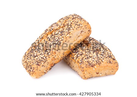 Dietary whole grain bread with various seeds isolated on white background.