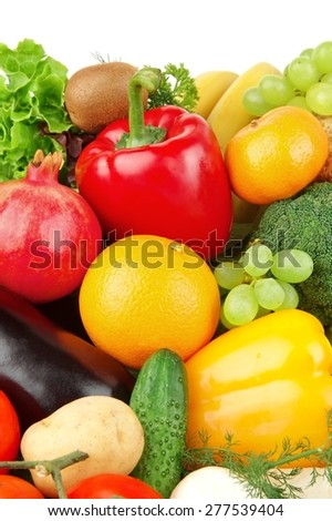 Dietetic set of paleo diet of vegetables and fruits on white - stock photo