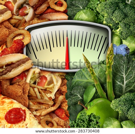 Dieting choice weight scale with unhealthy junk food on one side and healthy fruit and vegetables on the other half as a fitness and nutrition eating decision symbol. - stock photo