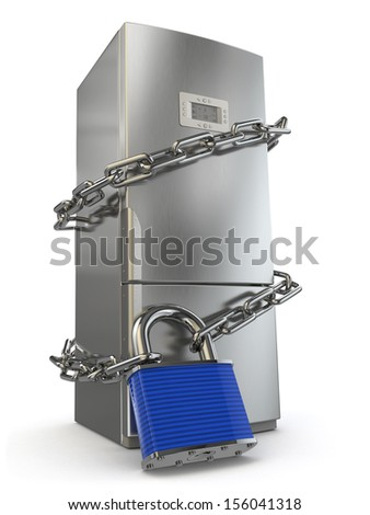 Dieting concept. Refrigerator, chain and lock. 3d - stock photo