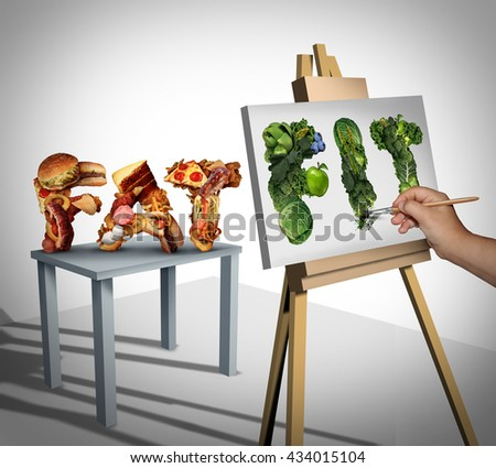 Dieting focus and changing nutrition lifestyle goals as a person painting still life on canvas from fat cholesterol fast food to healthy fit fresh fruit and vegetables with 3D illustration elements. - stock photo