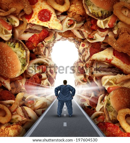 Dieting solutions and overweight diet advice concept as an obese man walking on a road to a heap of greasy junk food shaped as a key hole as a metaphor for answers to unhealthy food risk. - stock photo