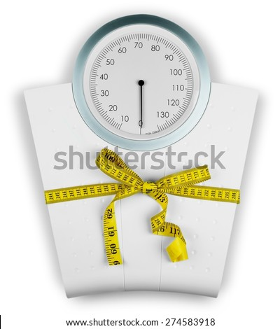 Dieting, Weight Scale, Overweight. - stock photo