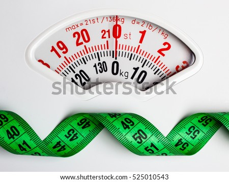 Dieting weightloss slim down concept. Closeup measuring tape on white weight scale copy space text area