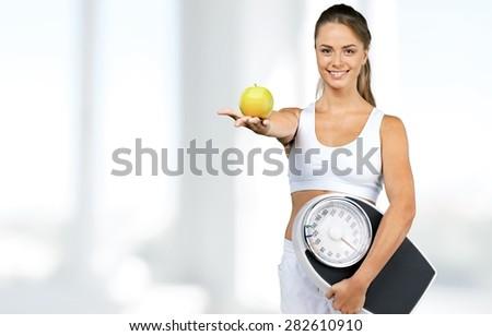 Dieting, Women, Exercising. - stock photo