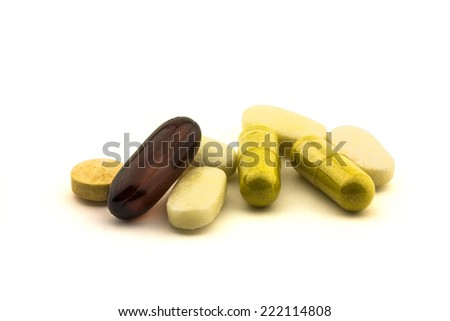 diferent Tablets pills capsule heap mix therapy drugs doctor flu antibiotic pharmacy medicine medical - stock photo