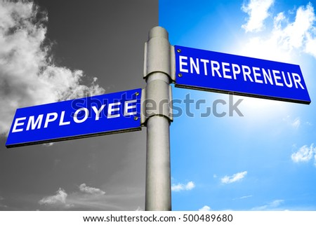 Difference between being an Entrepreneur or an Employee, Two Blue Road Sign with text Entrepreneur and Employee with bright and stormy sky background