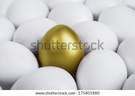 Difference concept: Standing golden egg in between white eggs - stock photo