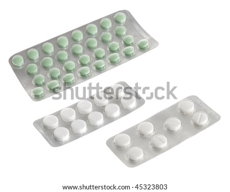 Difference tablets packed in blister