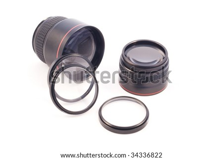Different add-on photographic lenses.