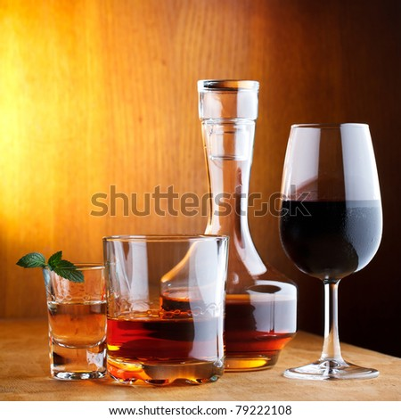 different alcohol drinks - stock photo