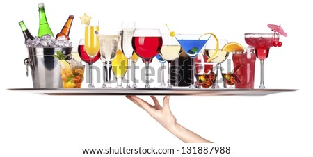 different alcohol drinks on a tray -beer,cocktail,champagne,wine,whiskey - stock photo
