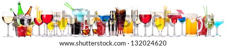 different alcohol drinks set -beer,cocktail,champagne,wine,cola,whiskey - stock photo