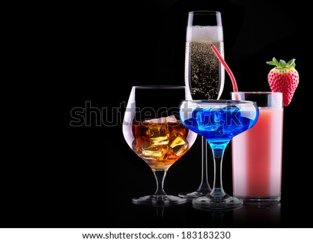 different alcohol drinks set  - beer, wine, cocktail,juice, champagne, scotch, soda