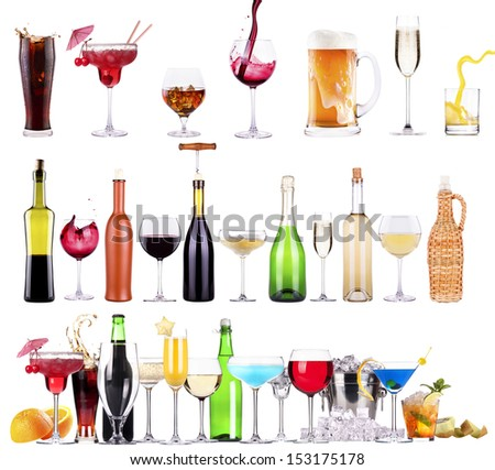 different  alcohol drinks set isolated- beer, martini, cola, scotch, champagne, wine, juice