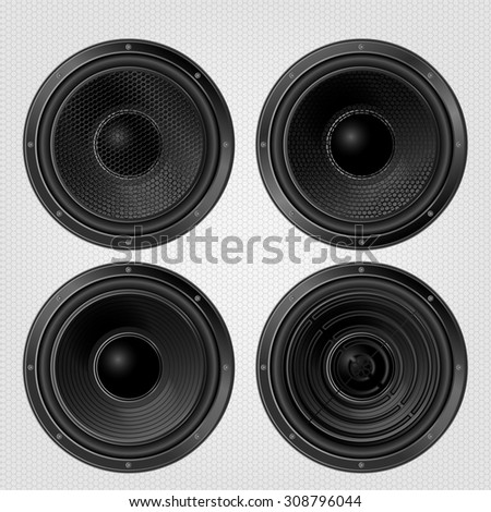 Different Audio speakers set on a grille background. Subwoofer, front view